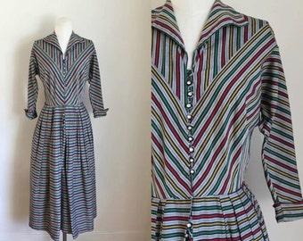 vintage 1950s striped dress -  TRIO stripe shirtwaist dress / M