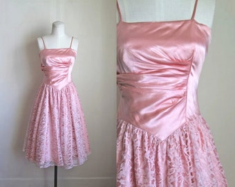 vintage pink prom dress - BUBBLE GUM pink 80s does 50s party dress / XXS or teen