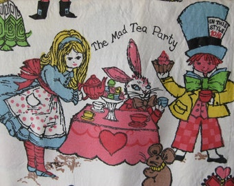 Vintage Alice in Wonderland Curtains / Fabric / two pair / 4 panels