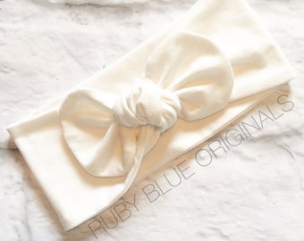 Knot Bow Head Wrap in Stark White Cozy Cotton