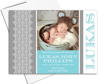 baby boy announcement card printable or printed | gray and teal baby cards - WLP00232