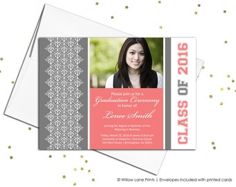 College graduation invitations 2016 grad invites, graduation party invitation printable or printed - WLP00407