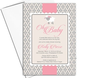 Baby girl baby shower invitations | little lamb baby shower invite for girls pink and tan | printable or printed - WLP00773