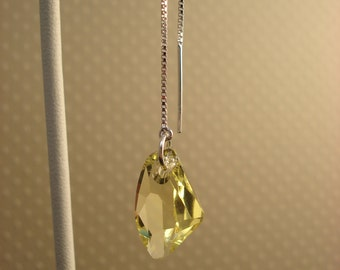 Light Yellow Swarovski Crystals on Sterling Ear Threads-Threader Earrings/Necklace-FREE SHIPPING To U.S.-