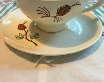 Vintage 2 Piece Tea Cup Set Pine Cone Pine Tree Made in The USA #3921
