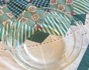 Vintage Pyrex Clear Glass Mixing or Serving Bowl With Handles Made in The USA #3748