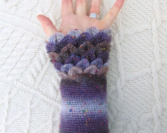 Tweedy Crocodile Stitch Dragon Scale Crochet Wrist Warmers Wrist Cuffs Handmade in Ireland