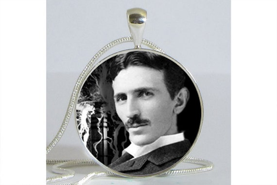 Nikola Tesla Necklace with Chain Altered Art Pendant Resin Pendant Picture Pendant Art Pendant Photo Pendant