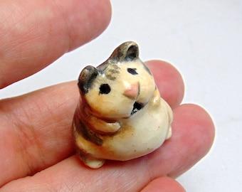 Teddy Bear Hamster - Miniature Figurine - Terrarium Miniature - Small Pet Animal - Clay Hamster - Fairy Garden Figurine - Shadow Box Hamster