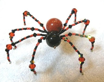 Beaded Spider Halloween Ornament in Black and Orange - Daddy Long Legs