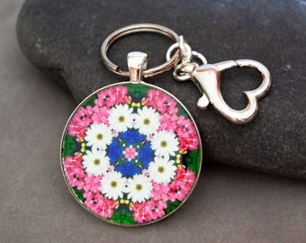 Daisy Purse Charm Bag Charm Keychain Boho Chic Mandala New Age Sacred Geometry Hippie Kaleidoscope Mod Unique Gift  A Love That Transcends