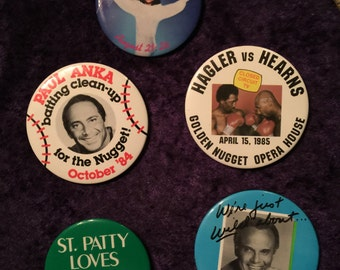 Vintage Pins Advertising Golden Nugget Casino, Atlantic City, 1980s Harry Belefonte Paul Anka Whitney Houston Boxing sports celebrities