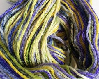 "Handspun Yarn -- ""Citrus Slushie"" -- 85/15 polwarth / bamboo -- 298 yards sport weight"