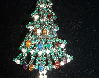 """BEST Vintage Christmas Tree Pin Brooch Ever In the Universe Articulated Large 3 1/2"""" of Rhinestones Christmas Happiness"""