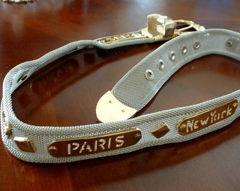 Vintage Silver Mesh Metal Belt with Plates of Paris Rome New York in Gold Fabulous