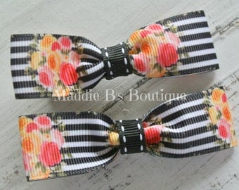 Tuxedo-Bow Tie Hair bow-Vintage flower bows-Black White Stripe & roses- bows by Maddie B's Boutique on Etsy