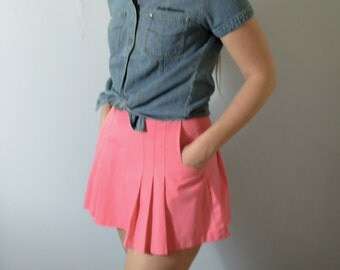 Vintage 90's hot pink tennis skirt, bright pink pleated skirt, size 10 / 8