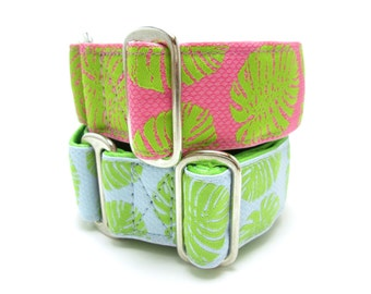 """Houndstown 1.5"""" Fronds Unlined Buckle or Martingale Collar, Any Size"""