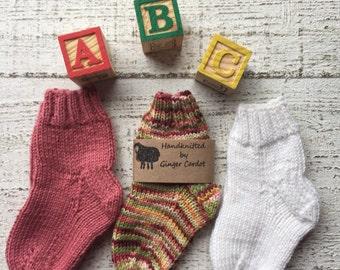 3 Pairs ~Hand Knitted Baby/Toddler Socks // Knitted Baby Socks // Hand Knitted Baby Clothing // Hand Knitted Socks // Baby Socks