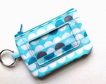 Keychain ID Wallet Student ID Holder Name Badge Holder  Id Card Case Keychain Coin Purse Id Badge -Aqua Half Dots