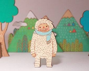 White yeti with polkadot scarf hand painted wooden brooch