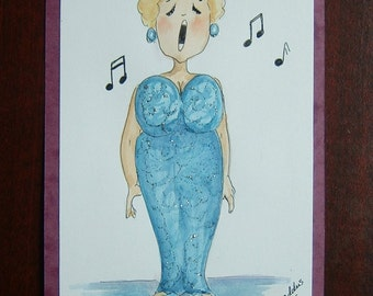 cartoon lady singer original art painting ref 330