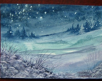 watercolour painting snowscene art original ref 334