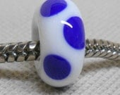 White and Blue Handmade Lampwork Bead Large Hole European Charm Bead White with Retro Blue Dots