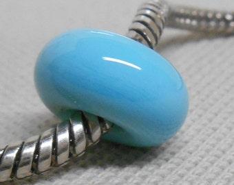 Handmade Lampwork Bead - Large Hole Glass Lampwork Bead European Style Charm Bead Light Blue