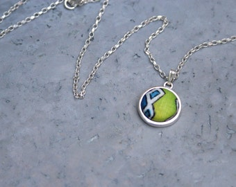 Drop necklace, Textile jewelry, Mixed media jewelry, Statement jewelry, Fabric necklace, Sterling silver, Batik pattern,