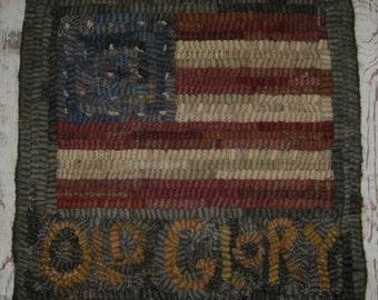 Folk Art Primitive Hooked Rug~Old Glory