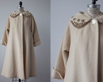 Vintage 60s Cream Wool Winter Coat with Embroidered Beaded Collar A-line Swing Trapeze Ivory Mad Men size S-M
