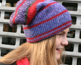 Reversible L Mens Womens Kids Winter Knit Hat Cute Slouchy Knit Ski Hat Red Violet ready to ship gift for teens trendy colorful soft chunky