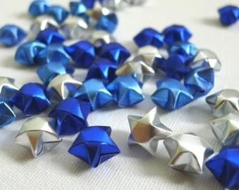 100 Frozen Cool Shine Brushed Steel effect Origami Lucky Stars (Silver, Ice Blue, Royal Blue)