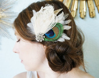 Peacock Ivory White Feather Bride Bridesmaid Headpiece Prom Hairpiece ARRI Rhinestone Bridal Wedding Fascinator Hair Clip Customizable