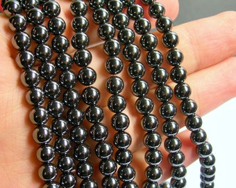 Hematite - 6 mm round beads - full strand - 67 beads - A quality - RFG520