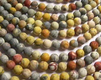 Sky eye Jasper - 8 mm round beads -1 full strand - 50 beads - matte -  A quality - RFG746