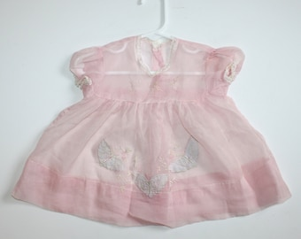 1950s Pink Baby Girl's Dress . Vintage 50s Sheer Chiffon Baby Doll Dress with Embroidery & Appliqué .  Size