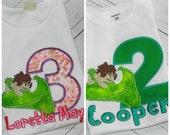 The Good Dinosaur Boys or Girls Birthday Shirt, Hat or Bib Apatosaurus Arlo with NAME Pick Size, Color Scheme Pink Green Bodysuit