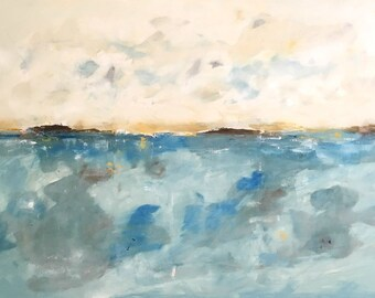 Large Blue Abstract Seascape - Ocean Dreams 60 x 40