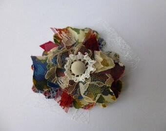 Fabric Flower Brooch Pin Floral Print Red Blue Green Gold Button Glam Garb Handmade USA Romantic Victorian Steam-punk Vintage Chic Boho OOAK