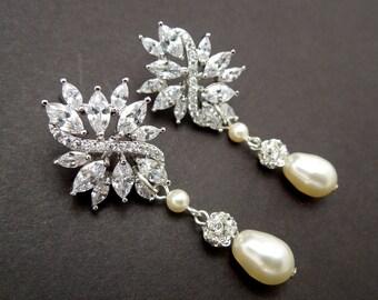bridal earrings pearl bridal earrings bridal stud earrings chandelier wedding earrings rhinestone bridal earrings wedding earrings BLAKE