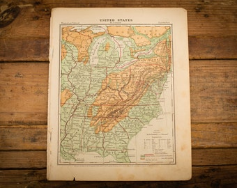 "1871 Eastern United States Map, 12"" x 9.5"", Antique Illustrated Book Page, 1800s"