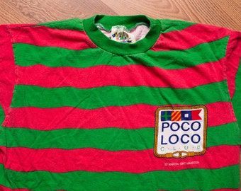 Poco Loco Club T-Shirt, Red & Green Striped, St. Maarten, Vintage 90s