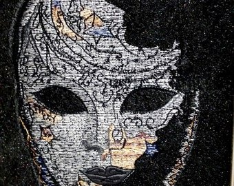 Mystical Embroidered Mask Wall Art