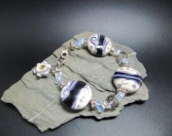 Handmade Lampwork Bracelet - Purple Charm