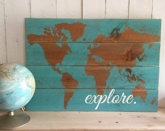 World Map Sign - Wooden Map Sign - Wood Map Sign - Traveler Sign - Adventurer Sign - Explorer Sign - World Map Decor - Boys Nursery Decor