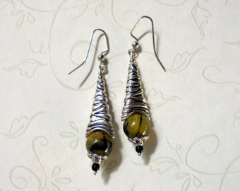 Yellow Striped Agate Earrings (2605)