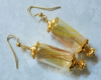 Crystal, Yellow, White and Orange Swirled Hollow Glass Earrings (2931)
