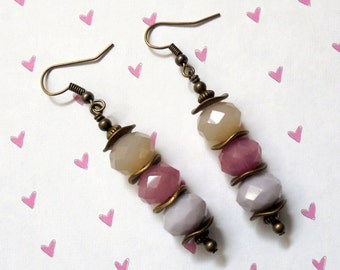 Cream, Pink and Lavender Earrings (2459)